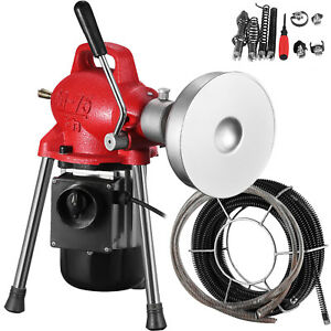 3 4 4 Sectional Pipe Drain Auger Cleaner Machine Electric New Powerful