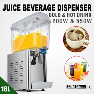 Commercial 4 75gal Juice Beverage Dispenser Fruit Ice Tea Cold Hot Drink 18l