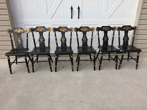 Set Of 6 Early Hand Painted Plank Bottom Chairs