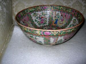 Monumental Chinese Rose Medallion Famille Rose Punch Bowl Signed
