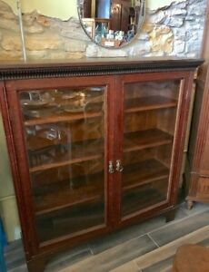 Vintage Antique English Oak Bookcase Library Cabinet Oak Wavy Glass 2 Doors