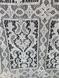 1800 S French Floral Geometric Point De Gaze Brussels Lace Panel 88 Ornate