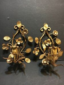 Pair Vtg Antique Tole Floral Gilt Branch Wall Hanging Light Candle Sconces Gold