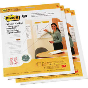 Post it Wall Easel Pads 20 Sheets White 4 count