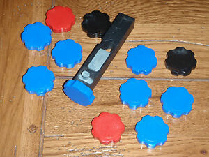 6 blue knobs for Dillon powder bars; SDB RL550 XL650 and 1050; Made in the US