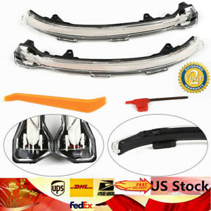 Smoked Side Mirror Moving Turn Sequential Signal Lights For 15 18 Vw Mk7 Golf