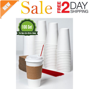 Hot White Paper Coffee Cups With Lids Stirrers And Sleeves 16 Oz 100 Set New