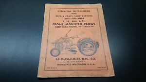 Allis Chalmers G R h L h Front Mounted Plows Manual