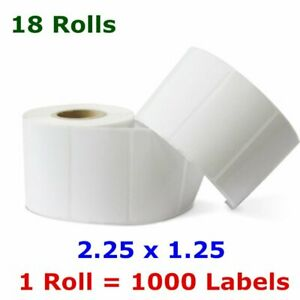18 Rolls 2 25 X1 25 Direct Thermal Shipping Barcode Label 1000 roll Zebra Lp2824