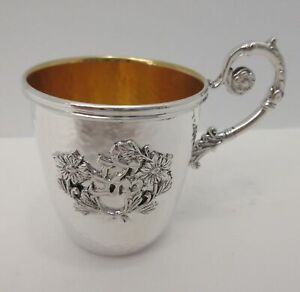 Italian 925 Sterling Silver Gilded Hammered Floral Yeled Tov Good Boy Baby Cup