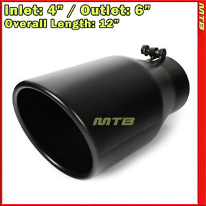 Universal Exhaust Tip Angled Black 12in Bolt on 4in Inlet 6in Outlet 233165