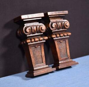 Pair Of 6 French Antique Corbels Pillars Brackets In Walnut Wood Salvage