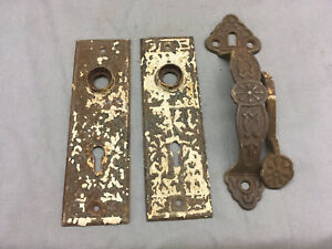 Vintage Victorian Doorknob Back Plates Handle Door Pull Lock Dd431