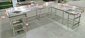 304 Ss Three Sided Commercial Kitchen Countertop Sink Combo Unit Used Sold As Is