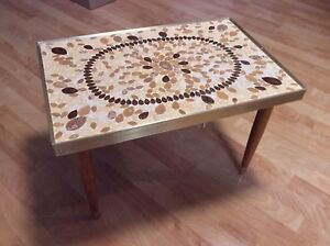 Mid Century Mosaic Side Table Tapered Legs W Gold Trim Leaf Pattern