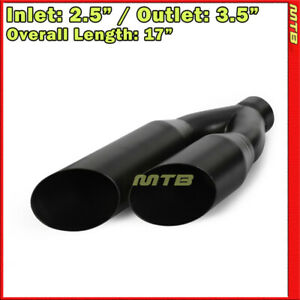 Truck 17in 2 5 In 3 5 Out Dual Exit Weld On Black Exhaust Single Wall Tip 233436