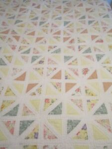 Vintage Patchwork Squares Quilt 86 X 82 Pinks Whites Yellows Handmade