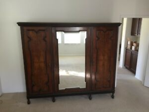 Beautiful Antique Armoire 3 Section Wardrobe With Center Beveled Mirror