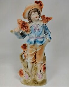 Porcelain Figurine 9 Inch Bisque French Colonial Peasant Farm Boy 1940 S