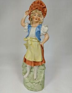 Porcelain Figurine 9 Inch Bisque French Colonial Peasant Farm Girl 1940 S