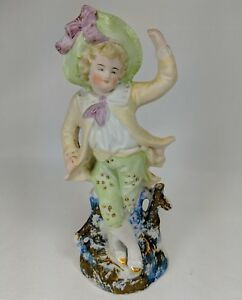 Porcelain Figurine 9 Inch Bisque French Colonial Dancing Boy Green