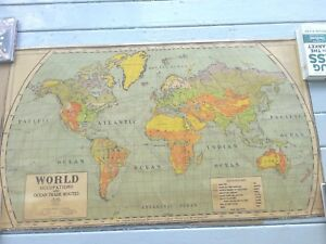 1920 50 Inch Cloth Map World Occupations And Trade Routes A J Nystrom Chicago