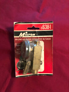 New Milton In line Air Flow Regulator W gage S638 1 1 4 0 200 P s i Gage