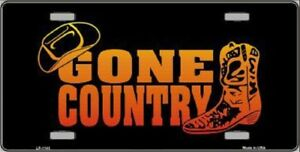 Gone Country Metal Novelty License Plate Tag