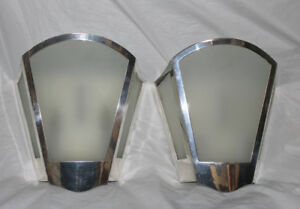 Modern Hollywood Art Deco Adler Style Silver Shield Theater Style Sconce Pair