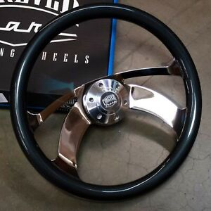 15 Chrome Steering Wheel Grey Boomerang 6 Hole Horn Button For Gmc Chevy Ford