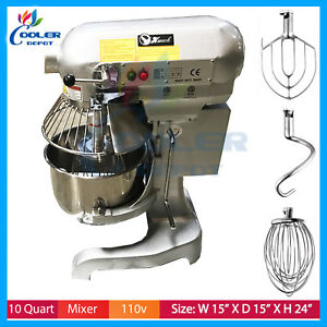 10 Qt Planetary Mixer Dough Beater Whip Attachments Home Or Commercial Etl nsf
