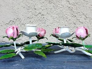 2 Antique Italian Toleware Wrought Iron Pink Rose Blossom Green Leaves Tole