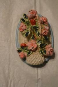 Rare Cast Iron Door Knocker Basket Of Roses Unmarked Hubly Very Collectable