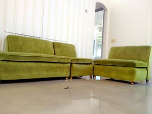 Mid Century Modern Low Profile Baughman Velvet Daybed Sofa Couch 3pc Sectional