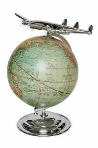 Globe With Aircraft Vintage Look Decor Globe World Map Gift Idea Earth