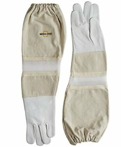 Natural Apiary Goatskin Beekeeping Gloves Ventilated Sleeves Sting Proof