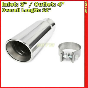 Universal Exhaust Tip Angled Polished 12 Inch Clamp on 3in In 4in Out 234450