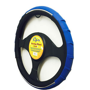 New Black And Blue Vortex Sporty Wave Steering Wheel Cover 14 5 15 5