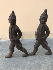 Antique Heavy Cast Iron Hessian Soldier Log Holder Fireplace Andirons Fire Dogs