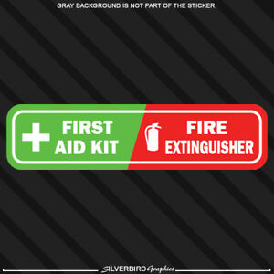 First Aid Fire Extinguisher Vehicle Emergency Sticker Decal Caution Safety Kit