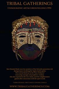 Exceedingly Rare Tabwa Beaded Possession Cult Mask African Art
