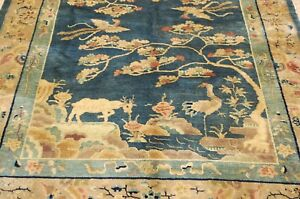 Circa 1920s Antique Mint Art Deco Chinese Helen Fette Rug 5x7 7 Water Garden
