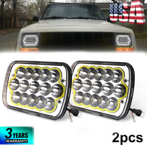 Pair 7x6 5x7 90w Led Headlights High low Beam Halo Ring Drl For Cherokee Xj Yj
