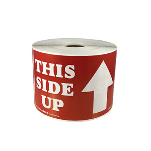 This Side Up With Arrow Shipping Label 3 X 5 Red 500 Labels Per Roll