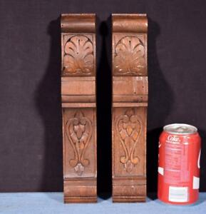 Pair Of 12 French Antique Corbels Pillars Brackets In Walnut Wood Salvage