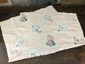 Antique Or Vintage Hand Sewn Embroidered Primitive Folk Art Child S Quilt Pink