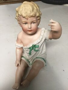 Antique German Bisque 6 5 Piano Baby Figurine With Grafenthal Mark 1875 1879