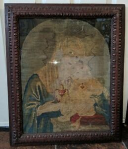 Gorgeous Antique Mary Madonna Christ Child Jesus Needlepoint Framed 24 By 20