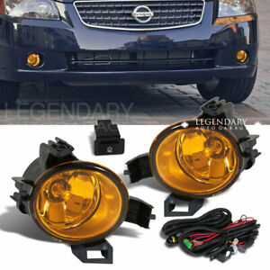 Yellow Front Bumper Driving Fog Light Lamp Kit For 2005 2006 Nissan Altima Pair