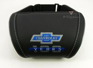 Car Seat Headrest Pillow Neck Rest Cushion Chevrolet 100 Years Embroidery Blue